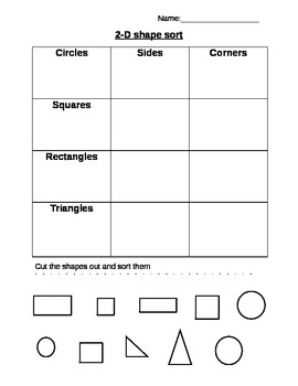 Math- shape sort grade 1