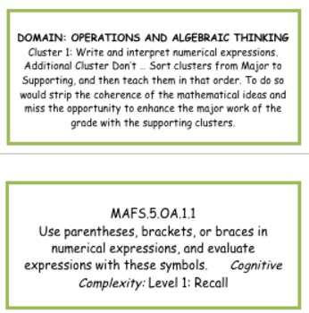 Math standards 2014-15 on labels 5th grade