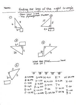Math teachers are cool! MATH 8 pythagorean theorem worksheet