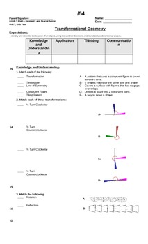 Math test Geometry & Spatial Sense (rotation, translation,