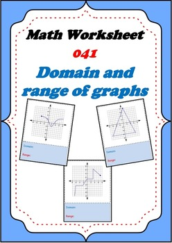 Math worksheet 041 - Domain and range of function graphs g