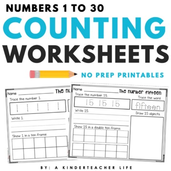 Numbers 1 - 30 Practice Pages