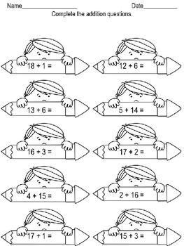 Math worksheets - addition and subtraction no regrouping
