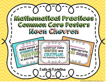 Mathematical Practices Common Core Posters- Neon Chevron