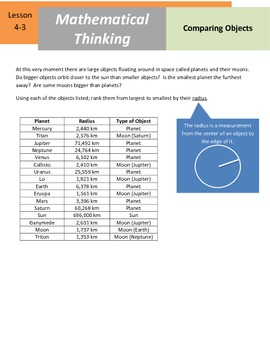 """Mathematical Thinking - 4.NBT.2 - """"Comparing Planets"""""""