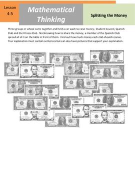 "Mathematical Thinking - 5.NBT.6 - ""Splitting the Money"""