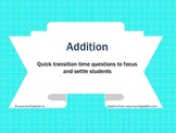 Mathematics: Addition Quick Question Package
