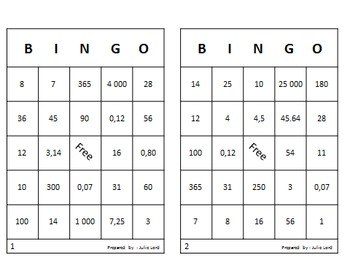 Mathematics Bingo for end or beginning of year (english version)