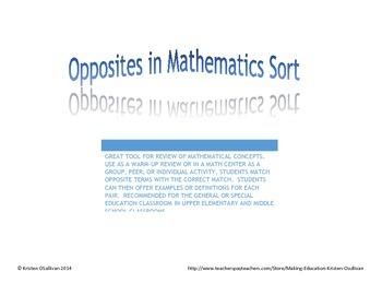 Mathematics Opposites Sort