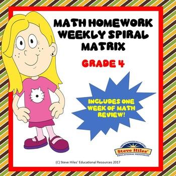 Mathematics Review: Math Spiral Weekly Matrix