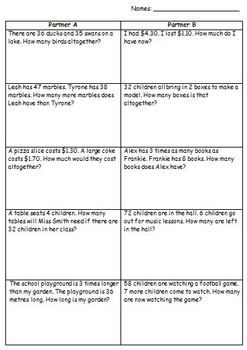 Mathematics Word Problems (using addition, subtraction and