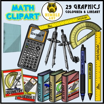 Classroom items - Math Clip art (bundle)