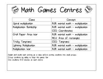 Math Games Centres