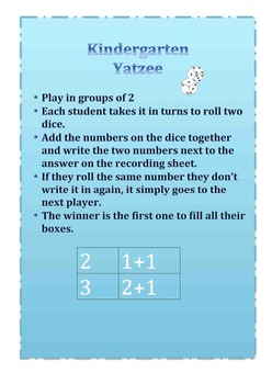 Maths Addition- Yatzee for Kindergarten