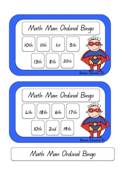 Maths Man Ordinal Bingo