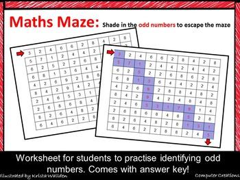Maths Maze Odd Numbers