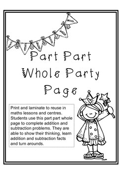 Maths Part Part Whole Party Page for Addition and Subtract