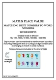 Maths Place Value Matching Digit and Word Numbers
