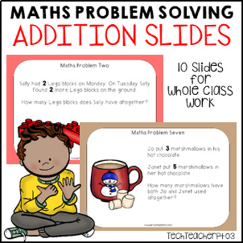 Maths Problem Solving Stories Addition 10 bright fun slides