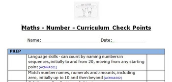 Maths Skills (Number) Checklist Prep-Yr 3 - Aligned to the