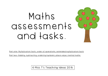 Maths Assessments and Tasks.
