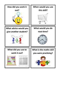 Maths reflection cards