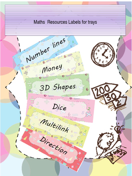 Maths resources tray labels - Editable in variety of colours