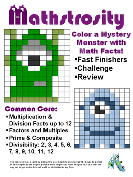 Mathstrosity: Math Fact Mystery Monster Fast Finishers
