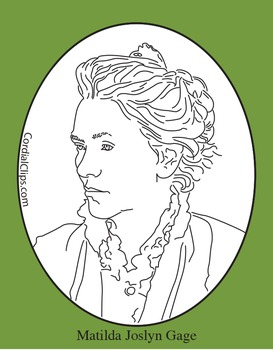 Matilda Joslyn Gage Clip Art, Coloring Page or Mini Poster