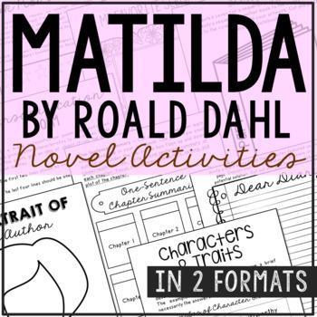 Matilda Novel Unit Study Activities, Book Report, Vocabulary