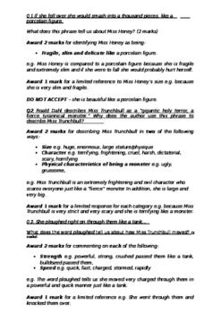 Matilda by Roald Dahl Comprehension