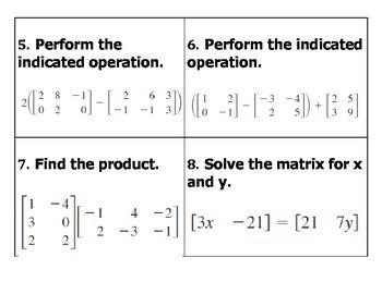 Matrices Review BINGO