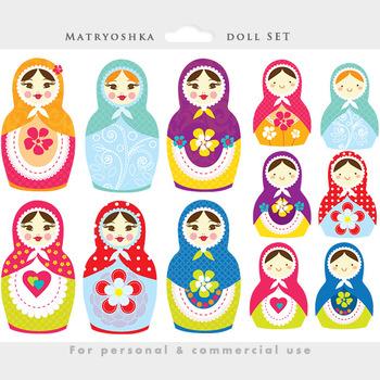 Matrioshka doll clipart - Russian nesting doll clip art, w