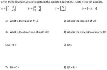 Matrix Operations Worksheet (4 versions)  Add, Subtract, M