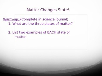 Matter : Changing State Powerpoint