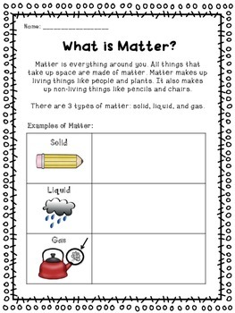 Matter (Common Core Activities, Thinking Maps, Experiments