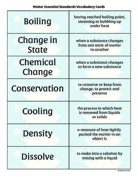 Matter Essential Standards Vocabulary Cards