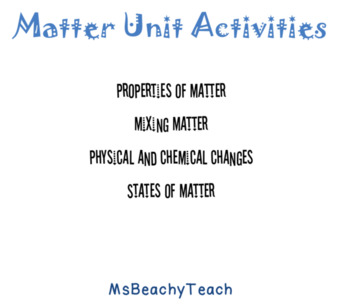 Matter Experiments and Activities