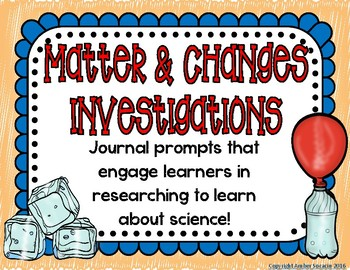 Matter Investigations Journal Prompts