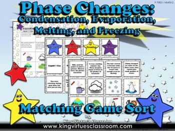 Matter: Phase Changes Matching Game Sort #2 - Evaporation,