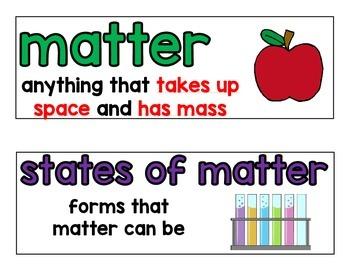 Matter Word Wall Words