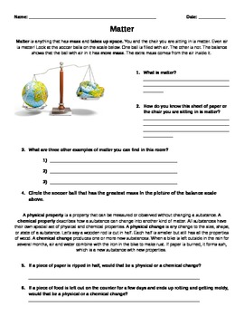 Matter Worksheet and Ice Lab!