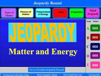Matter and Energy Review: Interactive 2-Round Jeopardy Gam