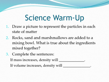 Matter and Energy Warm-Up