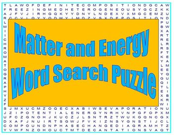 Matter and Energy : a fun word search puzzle for HS Chemistry
