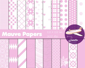 Mauve Digital Papers for Backgrounds, Scrapbooking and Cla