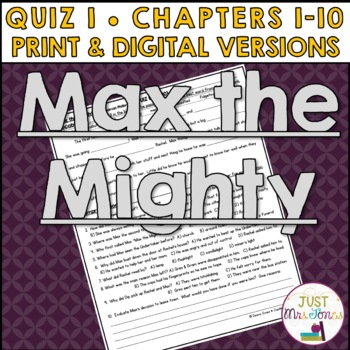 Max the Mighty Quiz 1 (Ch. 1-10)