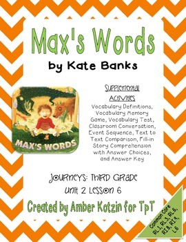 Max's Words Activities 3rd Grade Journeys Unit 2, Lesson 6