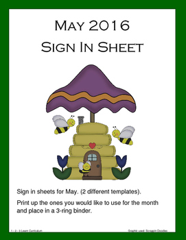 May 2016 Sign In Sheets