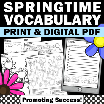 May Worksheets for Spring Writing and Vocabulary Activities